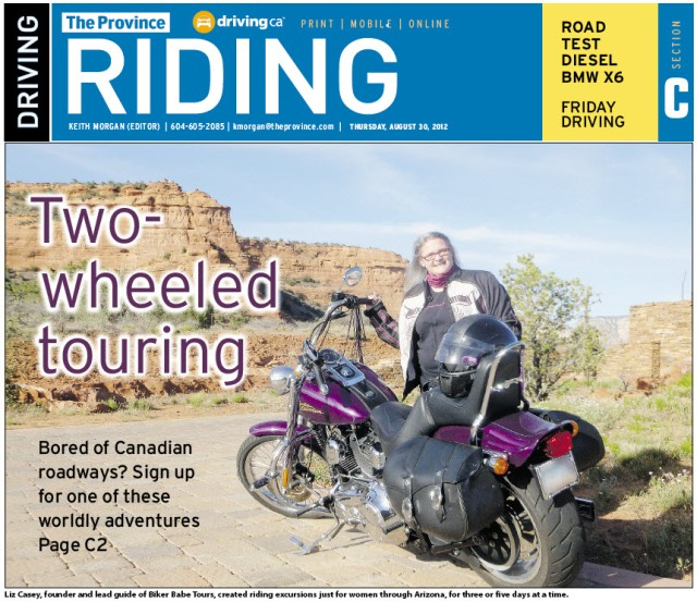 Cover of The Province Article abt. Biker Babe Tours